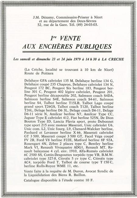 Collection Rocher Baillon - ventes aux enchères 1979