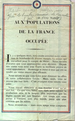 tract pré bombardement