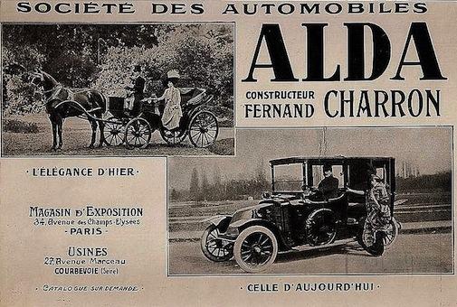 Alda - Constructeur Fernand Charron - Pub papier de 1913