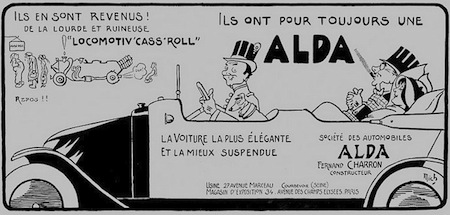 Alda - Ils en sont revenus - Publicite Automobile de 1913