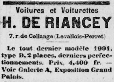 de riancey 1901