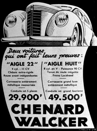 1939 - publicité chenard & walcker