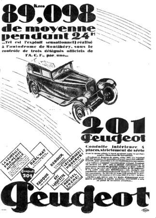 PEUGEOT 201 1929 - publicité 01