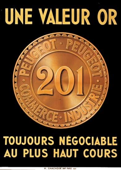 PEUGEOT 201 valeur OR