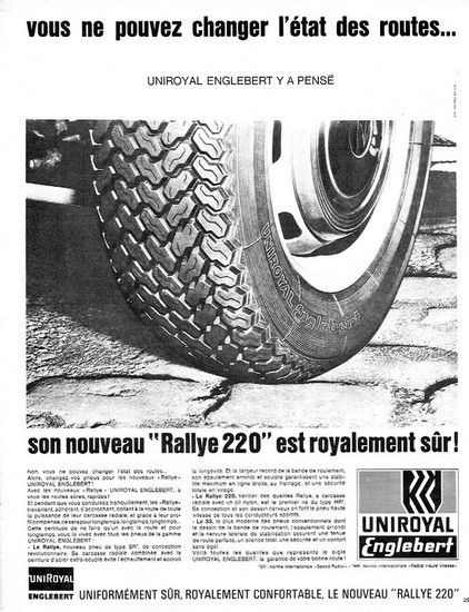 Uniroyal Englebert publicite 1966